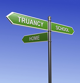 Image of a sign post with signs pointing to School, Home, and Truancy