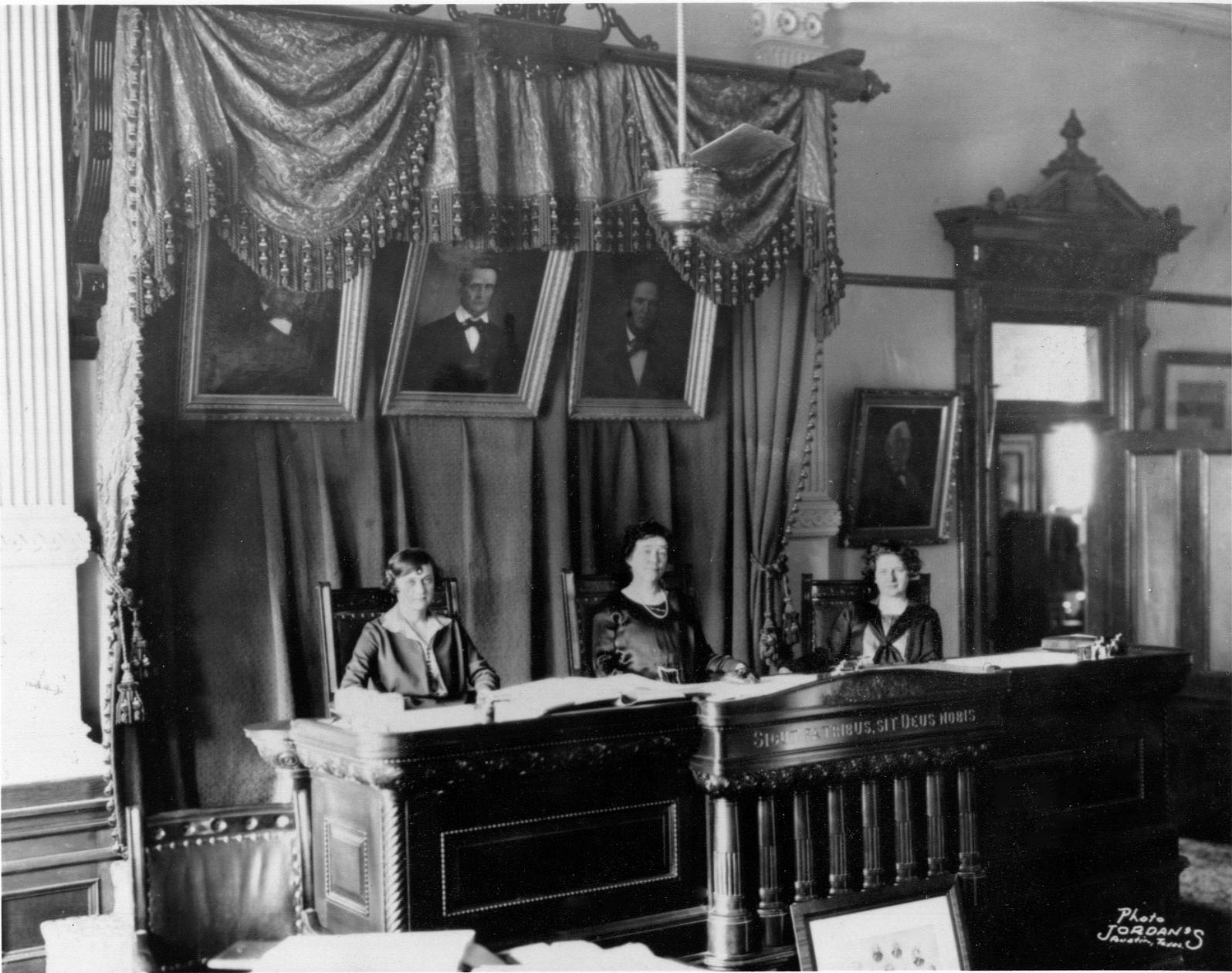 "The 1925 ""All Woman"" Court. Left to right: Justice Ruth Brazzil, Chief Justice Hortense Ward, and Justice Hattie Henenberg. Photo: TSLAC."