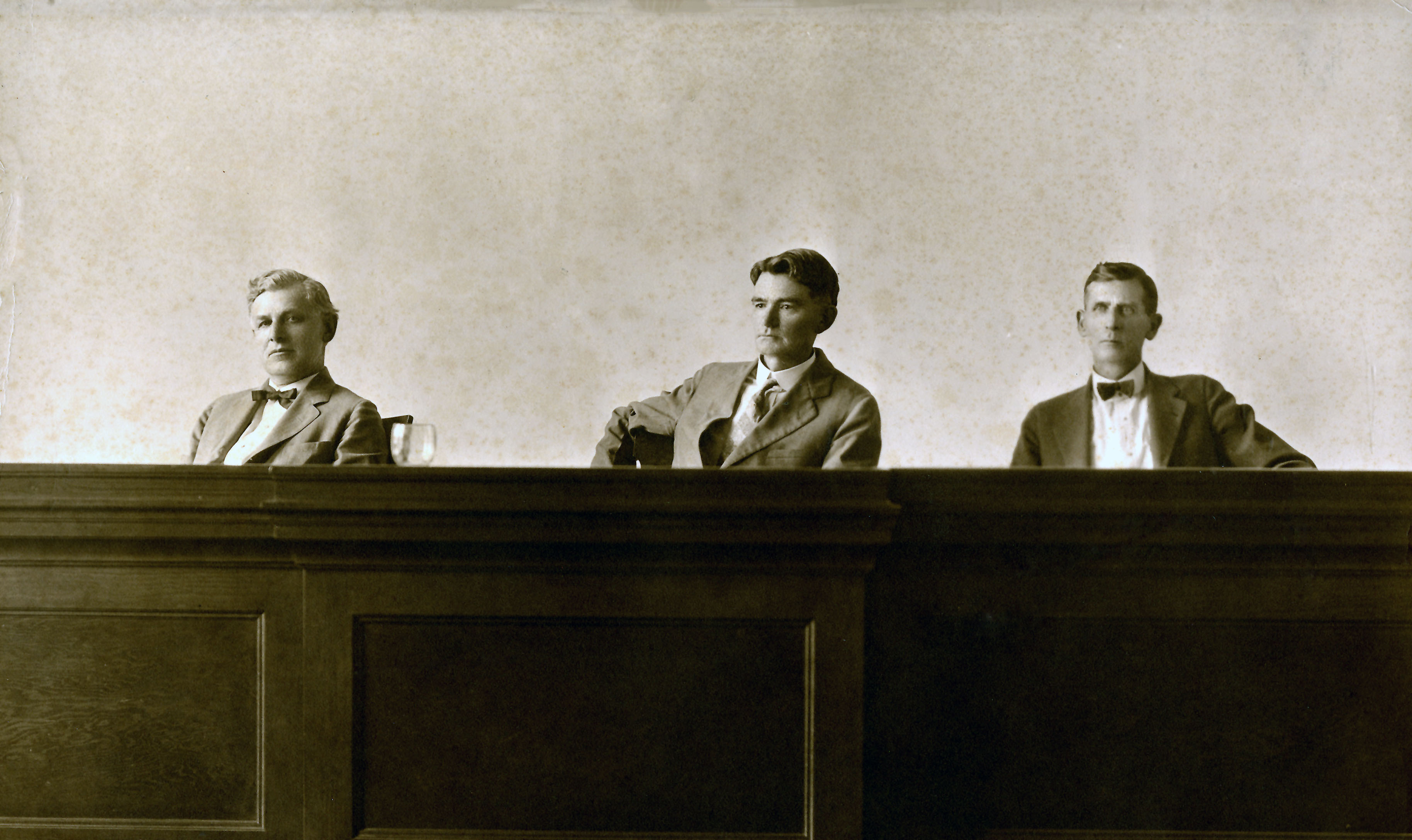 Commission of Appeals, Section A. Left to Right: Judges Bishop, German, Chapman, 1925. Photo: Texas Supreme Court Archives.