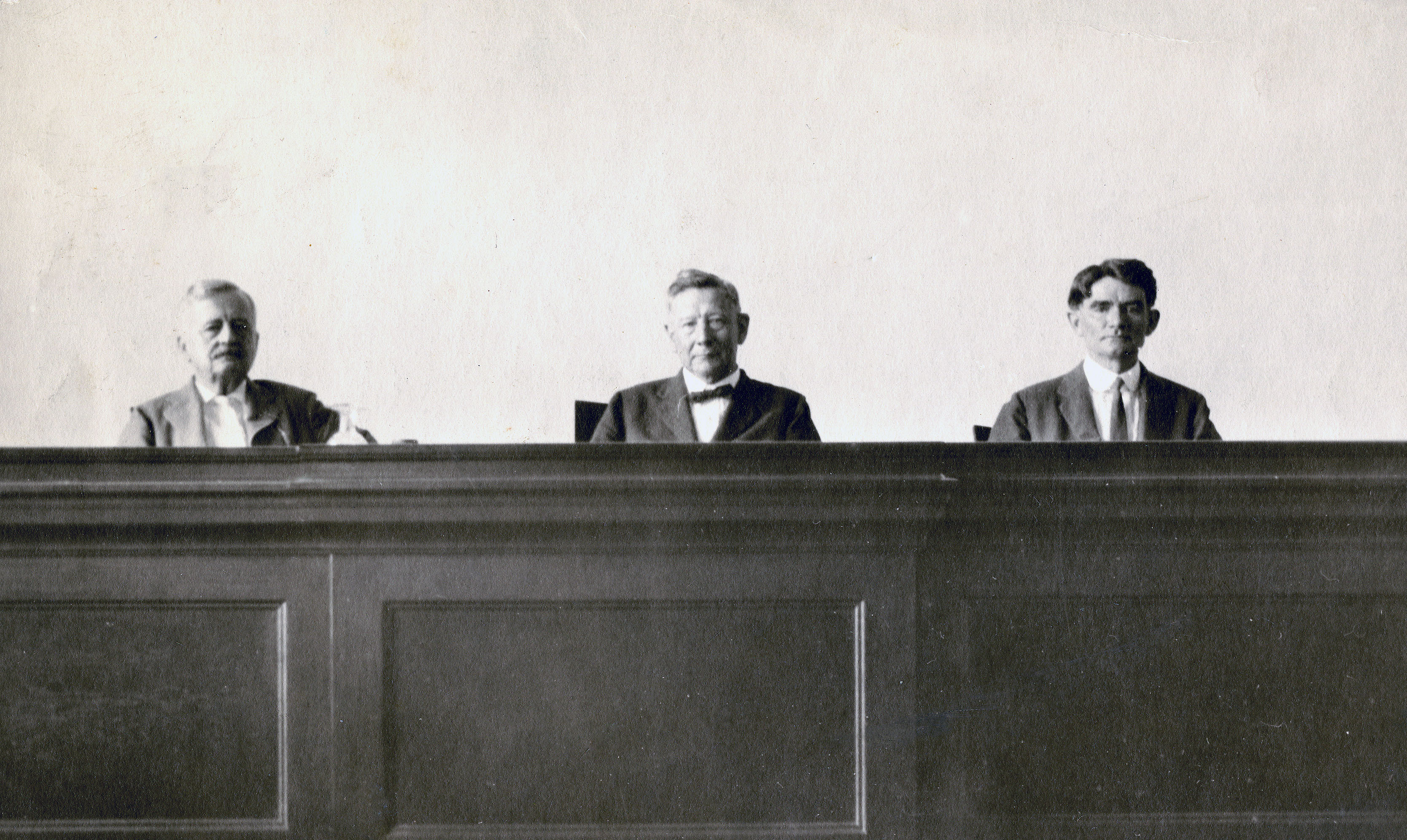 Commission of Appeals, Section A. Left to Right: Judges Randolph, Gallagher, German, 1923. Photo: Texas Supreme Court Archives.