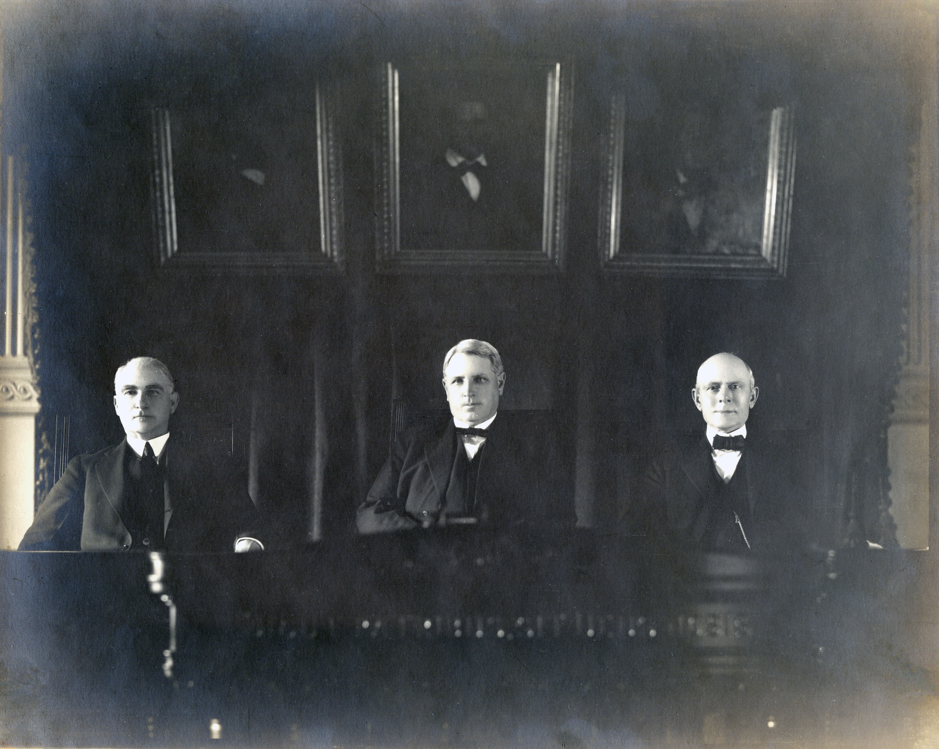 Left to right: Justice Thomas Greenwood, Chief Justice C. M. Cureton, Justice William Pierson, c. 1923-1934. Photo: Texas Supreme Court Archives.