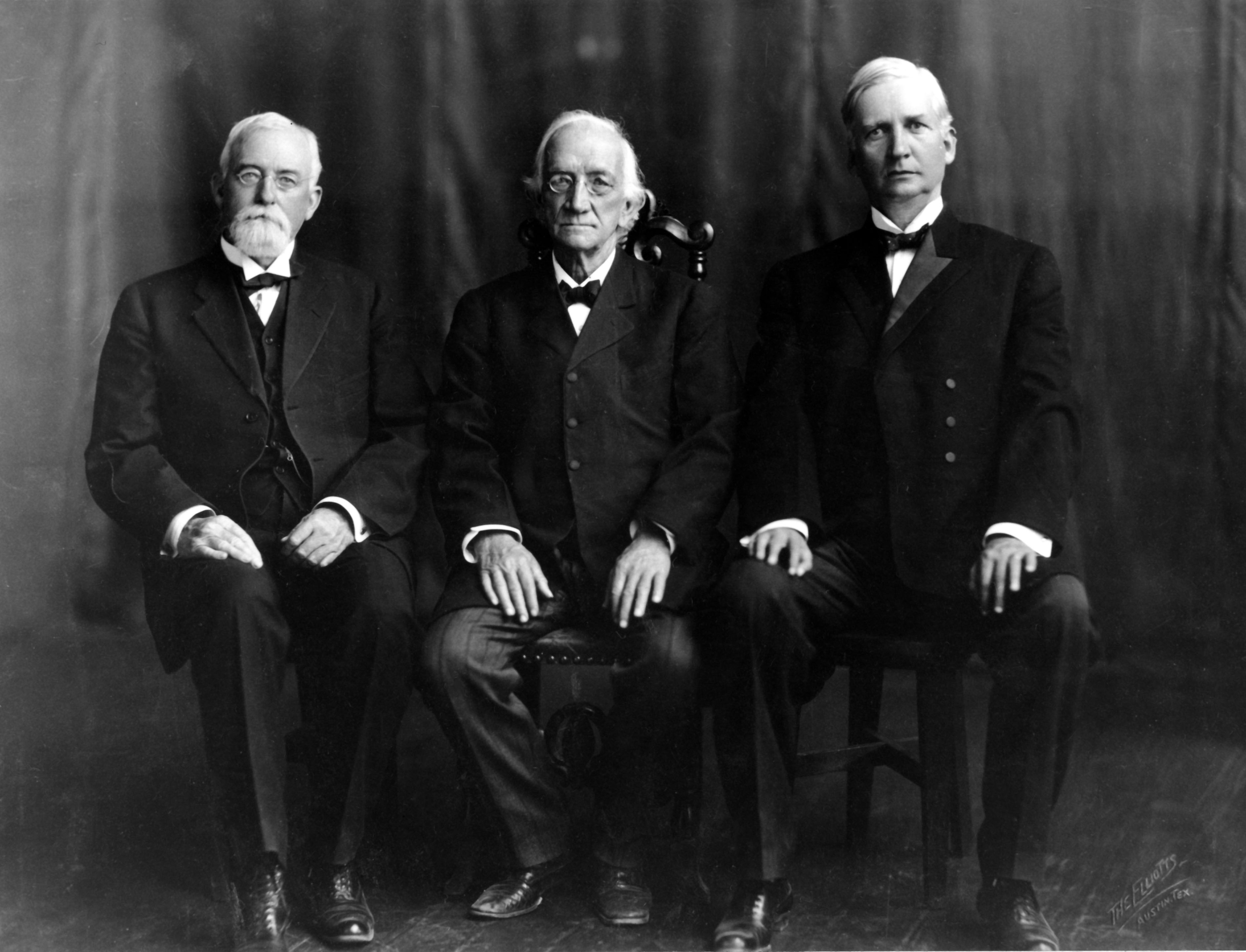 Left to Right: Justice Frank A. Williams, Chief Justice Thomas J. Brown, Justice William F. Ramsey, 1911. Photo: Texas Supreme Court Archives.