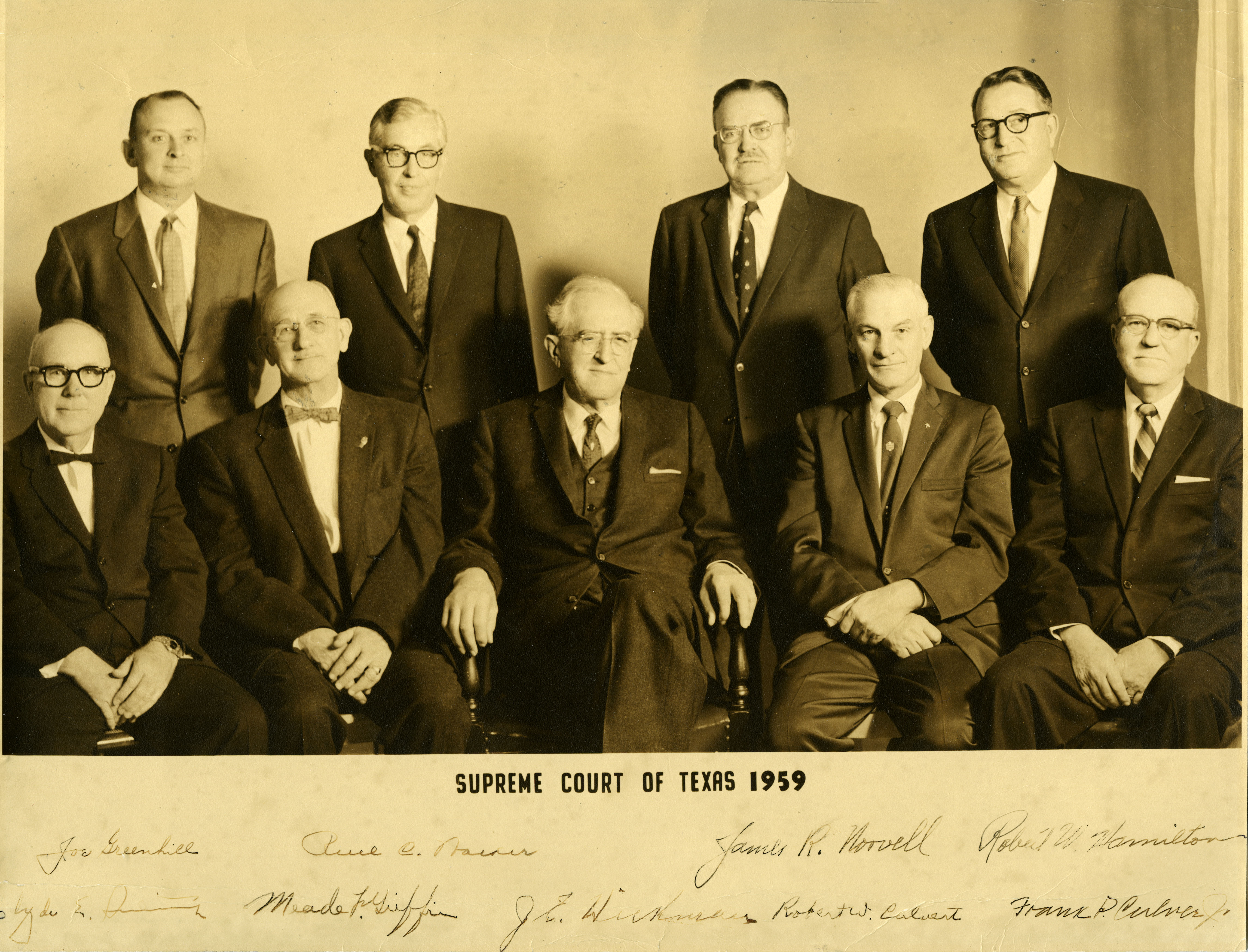 1959 Supreme Court, signed by the justices. Photo: Texas Supreme Court Archives.