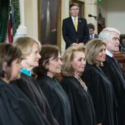 Chief Justice Hecht with Texas Female Judges on Senate Floor 2015
