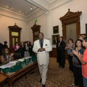 Senator West Enters Original Supreme Court Room with Texas Female Judges 2015
