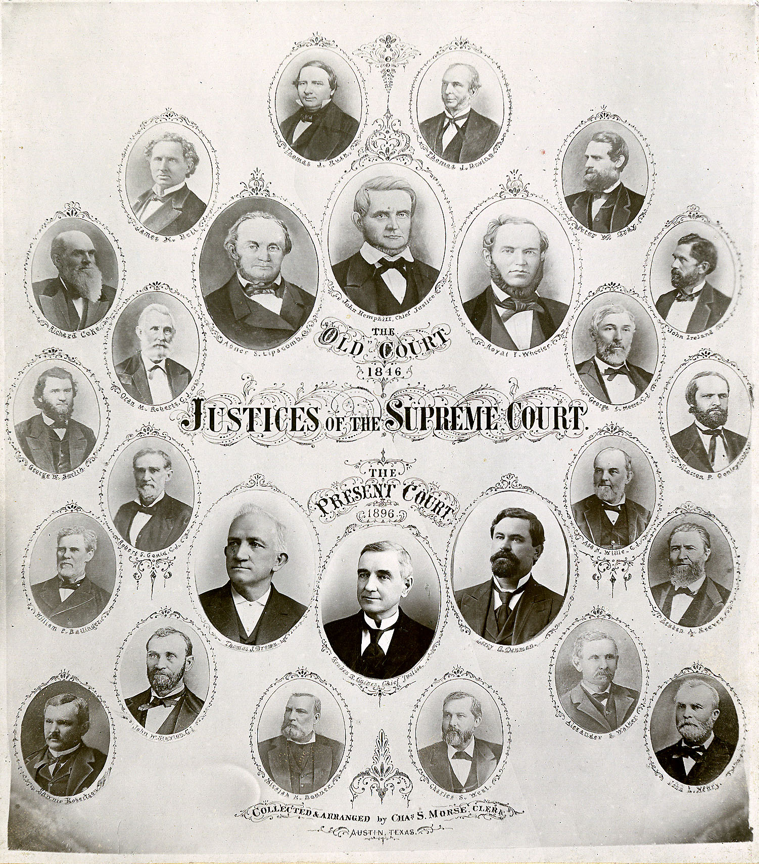 1896 50th Anniversary Cabinet Card, featuring portraits of the 1846 and 1896 justices. Photo: Texas Supreme Court Archives.